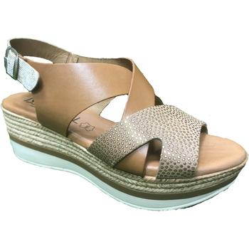 Zapatos Mujer Sandalias Issa Miel ZAPATO CUÑA VAQUETILLA