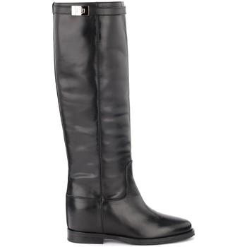 Zapatos Mujer Botas urbanas Via Roma 15 Bota de piel lisa negra con torniquete plata Negro