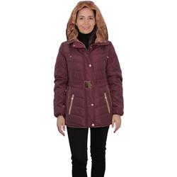 textil Mujer Parkas De La Creme Parka corta acolchada David Barry con cinturón ajustable Bordeaux