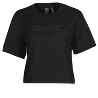 textil Mujer Camisetas manga corta G-Star Raw BOXY FIT RAW EMBROIDERY TEE Negro