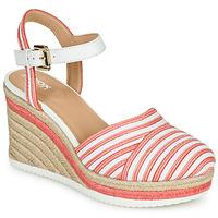 Zapatos Mujer Zapatillas bajas Geox D PONZA Rojo / Blanco