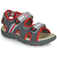 Zapatos Niño Sandalias Geox JR SANDALE STRADA Gris / Rojo
