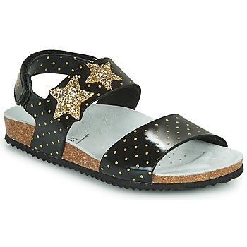 Zapatos Niña Sandalias Geox J ADRIEL GIRL Negro / Oro