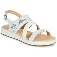Zapatos Sandalias Geox J SANDAL REBECCA GIR Blanco / Plata