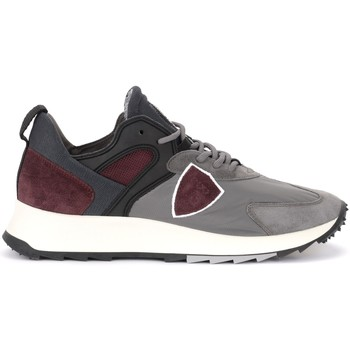 Zapatos Hombre Deportivas Moda Philippe Model Zapatilla Royale de tejido gris y gamuza burdeos Gris