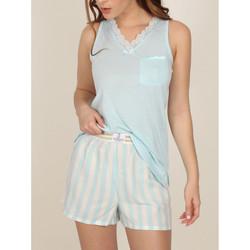 textil Mujer Pijama Admas Pantalones cortos de pijama sin mangas Classic Stripes Azul