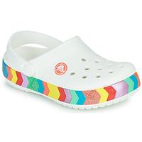 Zapatos Niña Zuecos (Clogs) Crocs CROCBAND CHEVRON BEADED CLOG K Blanco / Multicolor