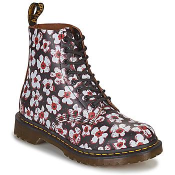 Zapatos Mujer Botas de caña baja Dr Martens 1460 PASCAL Negro / Blanco / Rojo
