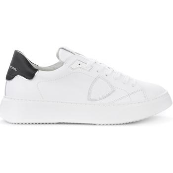 Zapatos Hombre Zapatillas bajas Philippe Model Zapatilla Temple L de piel blanca con alerón negro Blanco