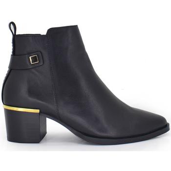 Zapatos Mujer Botines Exé Shoes BOTINES PIEL BLACK CON DETALLE DORADO 81KA Color Negro