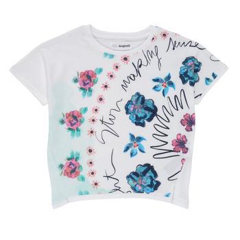 textil Niña Camisetas manga corta Desigual 21SGTK02-1000 Blanco