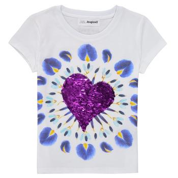 textil Niña Camisetas manga corta Desigual 21SGTK45-1000 Blanco