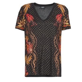 textil Mujer Camisetas manga corta Desigual PRAGA Negro