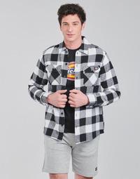 textil Hombre Camisas manga larga Dickies NEW SACRAMENTO SHIRT BLACK Negro / Blanco