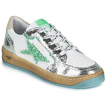 Zapatos Mujer Zapatillas bajas Semerdjian ARTO Blanco / Plata / Verde