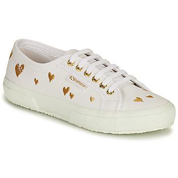 Zapatos Mujer Zapatillas bajas Superga 2750 HEARTS EMBRODERY Blanco / Oro