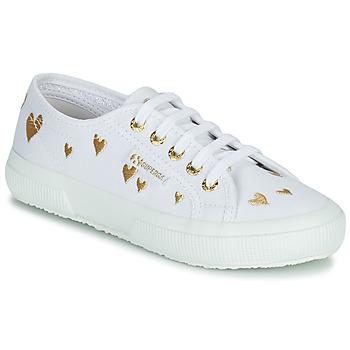 Zapatos Niños Zapatillas bajas Superga 2750 COTJEMBROIDERY LAMEHEARTS Blanco / Oro