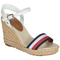 Zapatos Mujer Sandalias Tommy Hilfiger SHIMMERY RIBBON HIGH WEDGE Blanco