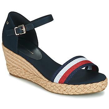 Zapatos Mujer Sandalias Tommy Hilfiger SHIMMERY RIBBON MID WEDGE SANDAL Marino