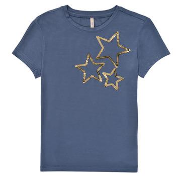 textil Niña Camisetas manga corta Only KONMOULINS STAR Azul