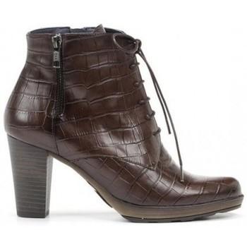 Zapatos Mujer Botines Dorking BOTIN CORDON PIEL GRABADA COCO DE Marrón