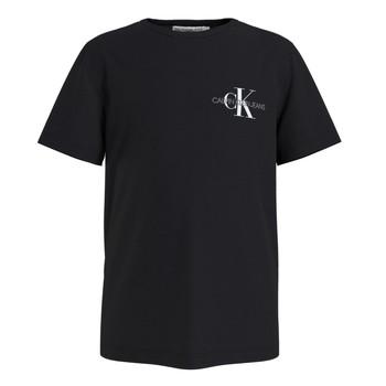 textil Niño Camisetas manga corta Calvin Klein Jeans CHEST MONOGRAM TOP Negro