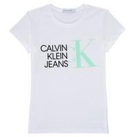 textil Niña Camisetas manga corta Calvin Klein Jeans HYBRID LOGO SLIM T-SHIRT Blanco