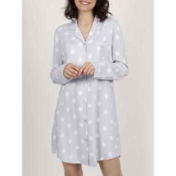 textil Mujer Pijama Admas El clásico camisón de manga larga  Dots Gris Claro