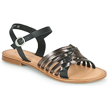 Zapatos Mujer Sandalias Kickers ETCETERA Negro / Plateado