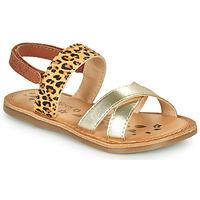 Zapatos Niña Sandalias Kickers DYACROSS Oro / Leopardo