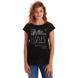 textil Mujer Camisetas manga corta Key Up 5Z10S 0001 Negro