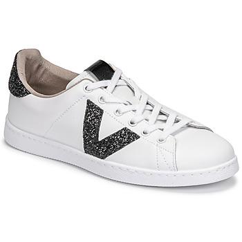 Zapatos Mujer Zapatillas bajas Victoria TENIS PIEL GLITTER Blanco / Negro