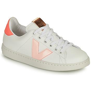 Zapatos Niña Zapatillas bajas Victoria TENIS VEGANA CONTRASTE Blanco / Rosa