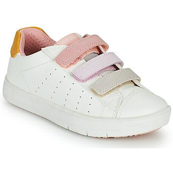 Zapatos Niña Zapatillas bajas Geox SILENEX GIRL Blanco / Rosa / Beige