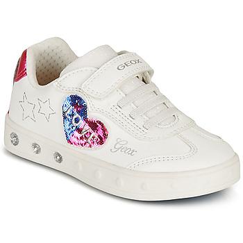 Zapatos Niña Zapatillas bajas Geox SKYLIN GIRL Blanco / Negro / Rosa