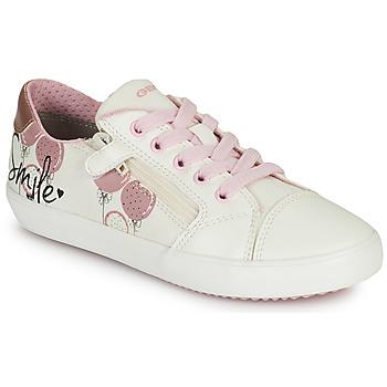 Zapatos Niña Zapatillas bajas Geox GISLI GIRL Blanco / Rosa