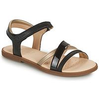 Zapatos Niña Sandalias Geox SANDAL KARLY GIRL Negro / Oro