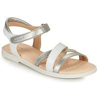 Zapatos Niña Sandalias Geox SANDAL KARLY GIRL Blanco / Plata