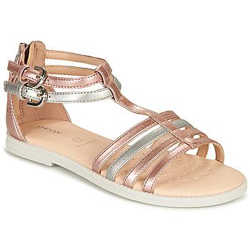 Zapatos Niña Sandalias Geox SANDAL KARLY GIRL Rosa / Plata