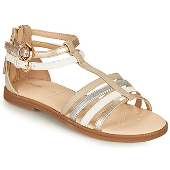 Zapatos Niña Sandalias Geox SANDAL KARLY GIRL Beige / Plata / Blanco