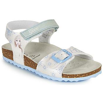 Zapatos Niña Sandalias Geox ADRIEL GIRL Blanco / Azul