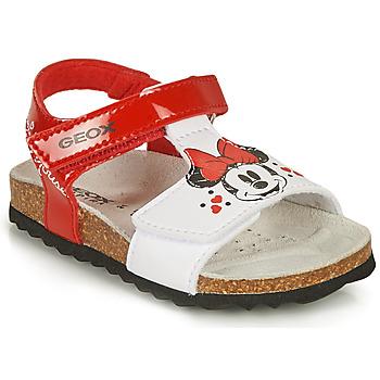 Zapatos Niña Sandalias Geox SANDAL CHALKI GIRL Rojo / Blanco