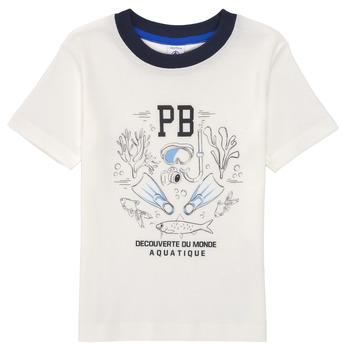 textil Niño Camisetas manga corta Petit Bateau MARCO Blanco