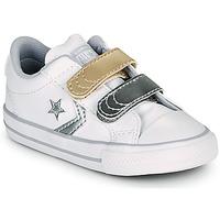 Zapatos Niña Zapatillas bajas Converse STAR PLAYER 2V METALLIC LEATHER OX Blanco