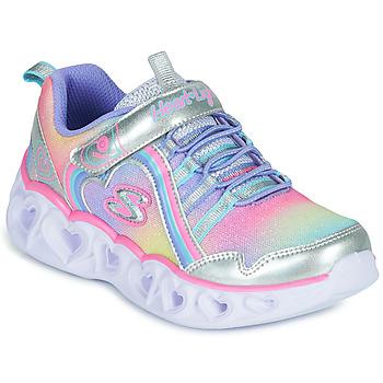 Zapatos Niña Zapatillas bajas Skechers HEART LIGHTS RAINBOW LUX Plata / Rosa