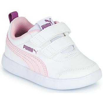 Zapatos Niña Zapatillas bajas Puma COURTFLEX INF Blanco / Rosa