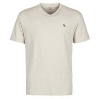 textil Hombre Camisetas manga corta Polo Ralph Lauren T-SHIRT AJUSTE COL V EN COTON LOGO PONY PLAYER Beige