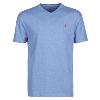 textil Hombre Camisetas manga corta Polo Ralph Lauren T-SHIRT AJUSTE COL V EN COTON LOGO PONY PLAYER Azul