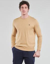textil Hombre Jerséis Polo Ralph Lauren PULL COL ROND AJUSTE EN COTON PIMA LOGO PONY PLAYER Camel