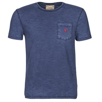 textil Hombre Camisetas manga corta Polo Ralph Lauren T-SHIRT AJUSTE COL ROND EN COTON LOGO PONY PLAYER Azul
